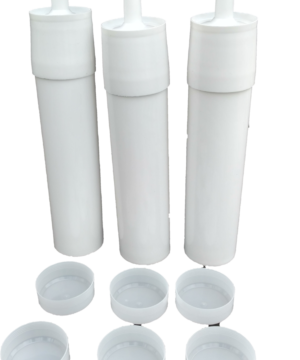3 Reusable White Plastic Caulking Tubes (32oz / Quart Size)