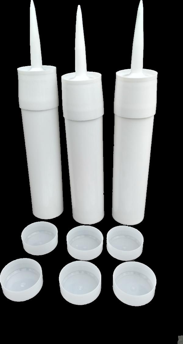 3 Reusable White Plastic Caulking Tubes (32oz / Quart Size)
